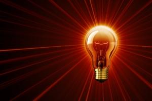 Red Illuminating Lightbulb