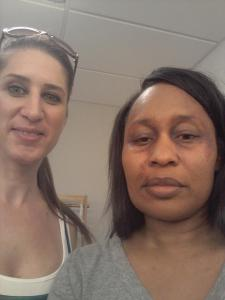 Debra Weight and Adrienne Hester after makeup