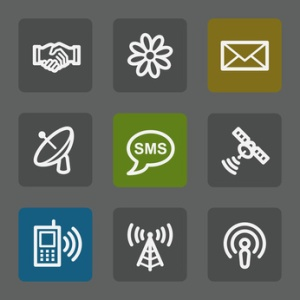 Communication web icons,  flat buttons